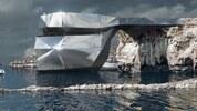 Футуристична сграда на мястото на падналата скална арка в Малта